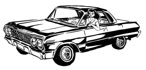 "'63 Chevy Impala, frontspiece art for ""El Vocho"" graphic novel."